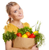 Woman holding a shopping bag Stock Image