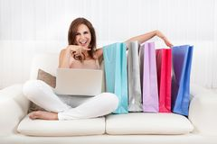 Woman Holding Shopping Bag At Home Royalty Free Stock Photo