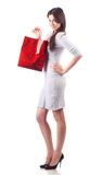 Woman holding shopping bag. Isolated Royalty Free Stock Photos