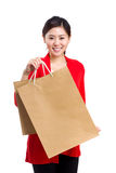 Woman holding shopping bag Royalty Free Stock Image