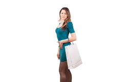 Woman holding shopping bag Stock Photos