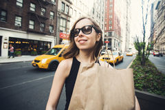 Woman holding shopping bag in Soho, Manhattan, New York Royalty Free Stock Images