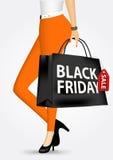 Woman holding shopping bag Stock Photos