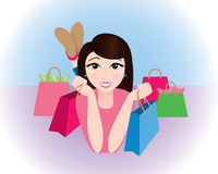 Woman holding shopping bags. Royalty Free Stock Image
