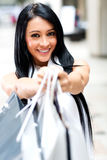 Woman holding shopping bags Royalty Free Stock Photography