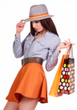Woman holding shopping bags Royalty Free Stock Images
