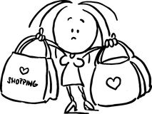 Woman holding shopping bags - black outline Royalty Free Stock Photos