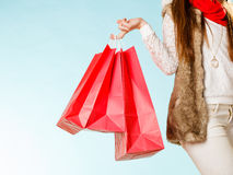 Woman holding shopping bags. royalty free stock photography