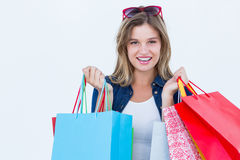Woman holding shopping bags Stock Image