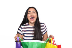 Woman holding shopping bags Stock Photography