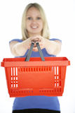 Woman Holding Shopping Basket stock image