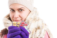 Woman holding and showing blisters as flu virus concept Stock Images