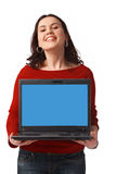 Woman Holding and Showing Open Laptop Stock Photography