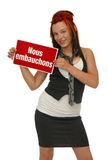 Woman holding sign Stock Images