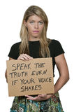 Woman Holding a Sign Stock Photo