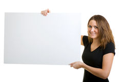 Woman holding a sign. Stock Photos