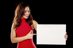 Free Woman Holding Sign Card. Royalty Free Stock Images - 63042229