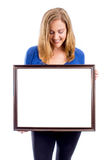Woman holding sign Royalty Free Stock Photos