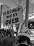 Black and white protest sign from the Women's March 2018 Royalty Free Stock Photo