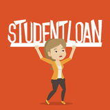 Woman holding sign of student loan. Caucasian woman holding a heavy sign of student loan. Young tired woman carrying heavy sign - student loan. Concept of the Royalty Free Stock Images