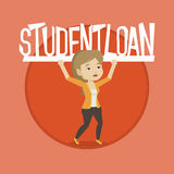 Woman holding sign of student loan. Royalty Free Stock Photos