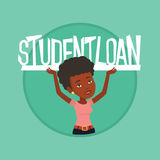 Woman holding sign of student loan. Woman holding a heavy sign of student loan. Woman carrying heavy sign - student loan. Concept of the high cost of student Royalty Free Stock Image