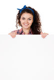 Woman holding signboard Royalty Free Stock Images