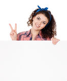 Woman holding signboard Royalty Free Stock Photo