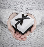 Woman holding silver gift box Stock Photos
