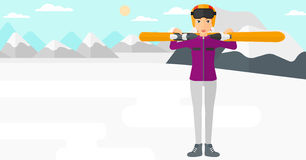 Woman holding skis. A woman carrying skis on her shoulders on the background of snow capped mountain vector flat design illustration. Horizontal layout Stock Photo