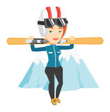 Woman holding skis vector illustration. Royalty Free Stock Photography