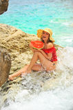 Woman holding slice of watermelon Royalty Free Stock Images