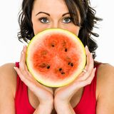 Woman Holding A Slice Of Watermelon royalty free stock photos