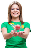 Woman holding smal market cart Stock Image