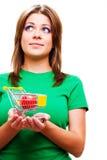 Woman holding smal market cart Stock Photo
