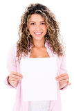 Woman holding a small banner Royalty Free Stock Photos