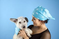 Woman holding small dog Royalty Free Stock Photography