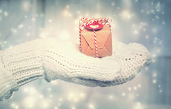 Woman holding a small gift box with heart tag Royalty Free Stock Image