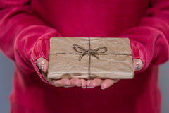 Woman holding a small package Royalty Free Stock Photo
