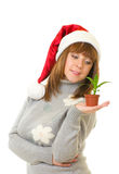 Woman holding a small plant Royalty Free Stock Photography