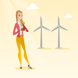 Woman holding small plant vector illustration. Stock Image