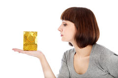 Woman holding small shopping bag Royalty Free Stock Images