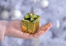 Woman holding small yellow present box in hand Stock Photography