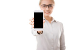 Woman holding smart phone Royalty Free Stock Photos