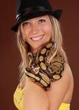 Woman holding a snake Stock Photos