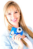 Woman holding snapshot camera Royalty Free Stock Photography