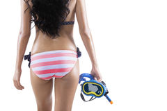 Woman holding a snorkeling equipment Royalty Free Stock Images