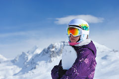Woman holding snowboard Stock Photos