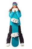 Woman holding snowboard in studio Stock Photography