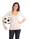 Woman holding a soccer ball Stock Images